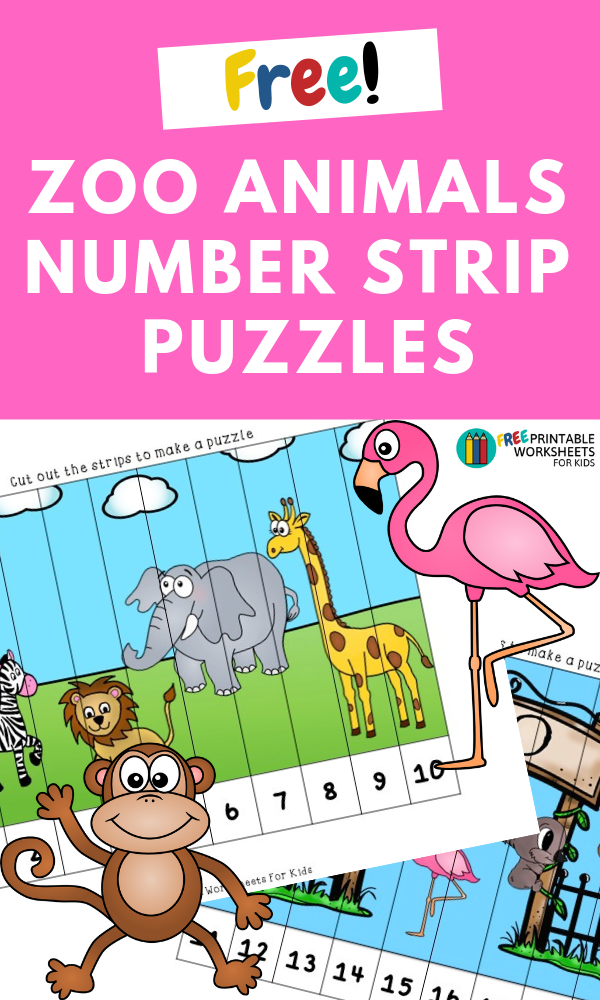 Zoo Animals Number Strip Puzzles | Free Printable Worksheets For Kids | (*The links below are affiliate links. Thank you for supporting this blog!)