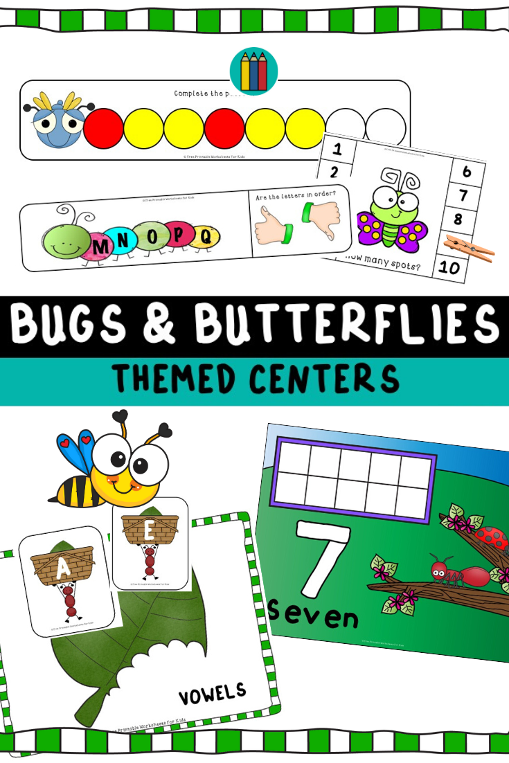 Bugs and Butterflies Themed Literacy and Math Centers | Free Printable Worksheets For Kids | 10 Spring theme literacy and math games galore to get kids excited about bugs and butterflies!